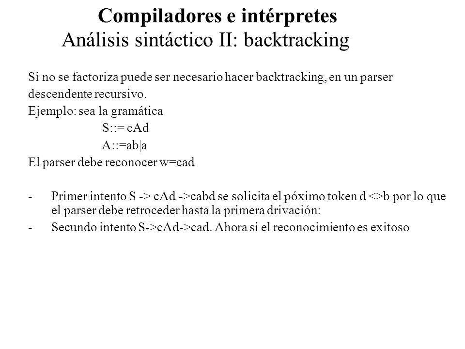 Análisis sintáctico II: backtracking Compiladores e intérpretes Si no se factoriza puede ser necesario hacer backtracking, en un parser descendente re