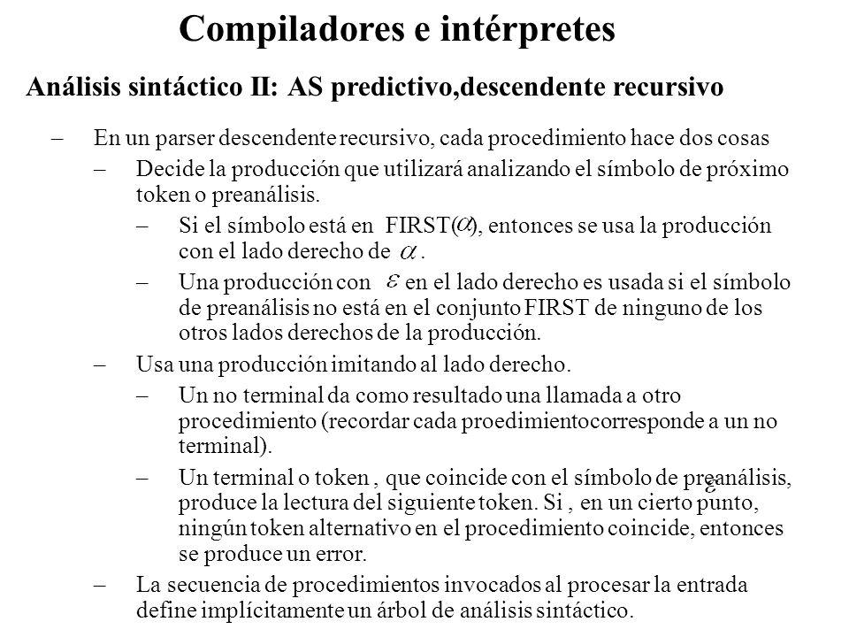 Análisis sintáctico II: AS predictivo,descendente recursivo Compiladores e intérpretes –En un parser descendente recursivo, cada procedimiento hace do