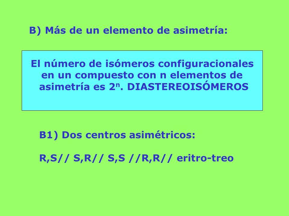 B) Más de un elemento de asimetría: El número de isómeros configuracionales en un compuesto con n elementos de asimetría es 2 n. DIASTEREOISÓMEROS B1)
