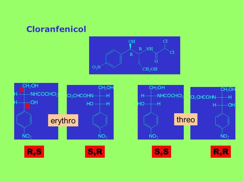 Cloranfenicol R,SS,RS,SR,R erythro threo R S