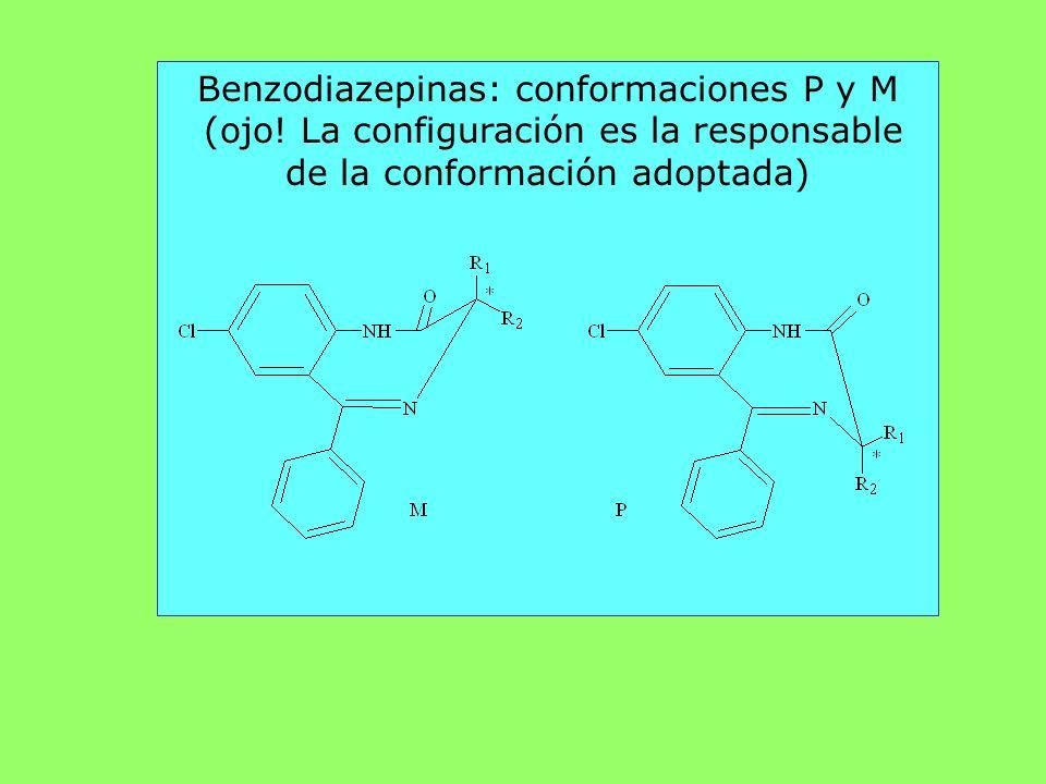 Benzodiazepinas: conformaciones P y M (ojo! La configuración es la responsable de la conformación adoptada)