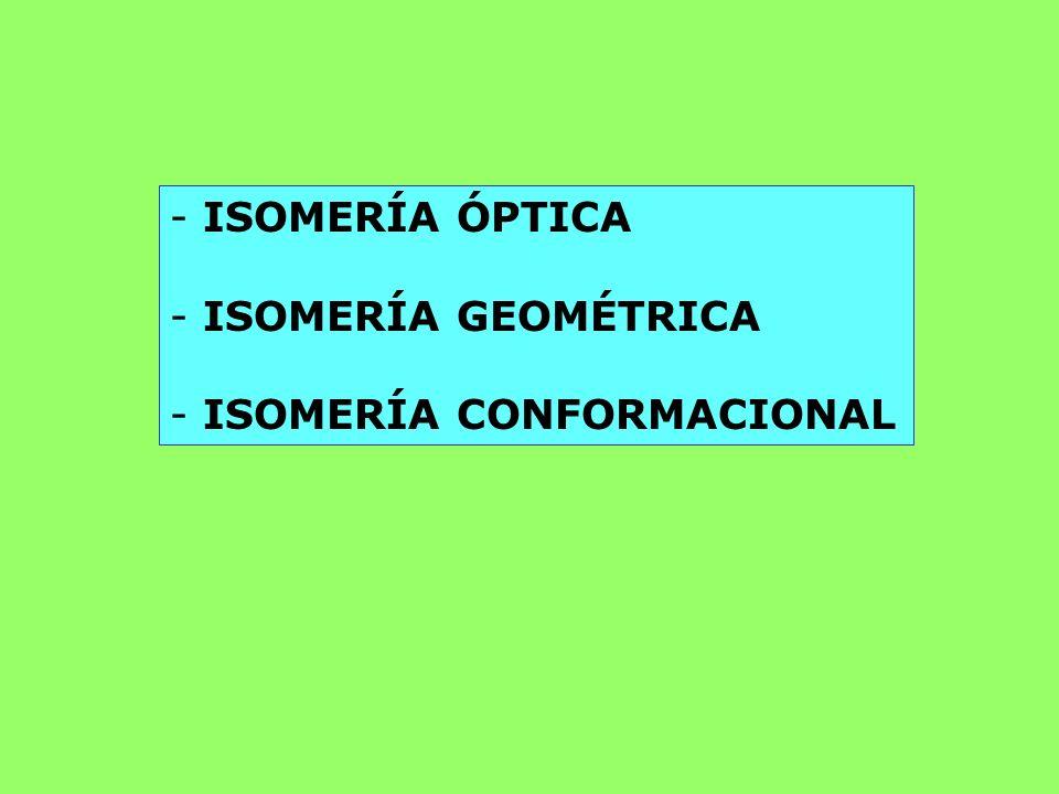 - ISOMERÍA ÓPTICA - ISOMERÍA GEOMÉTRICA - ISOMERÍA CONFORMACIONAL