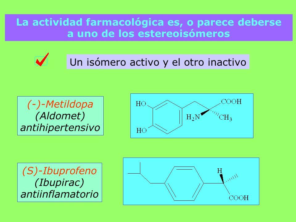 Un isómero activo y el otro inactivo (-)-Metildopa (Aldomet) antihipertensivo (S)-Ibuprofeno (Ibupirac) antiinflamatorio La actividad farmacológica es