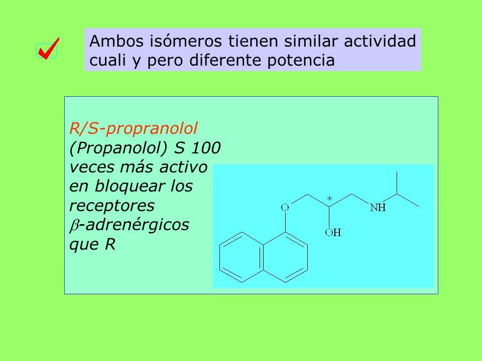 Ambos isómeros tienen similar actividad cuali y pero diferente potencia R/S-propranolol (Propanolol) S 100 veces más activo en bloquear los receptores