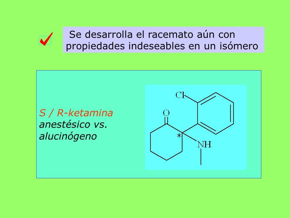 Se desarrolla el racemato aún con propiedades indeseables en un isómero S / R-ketamina anestésico vs. alucinógeno