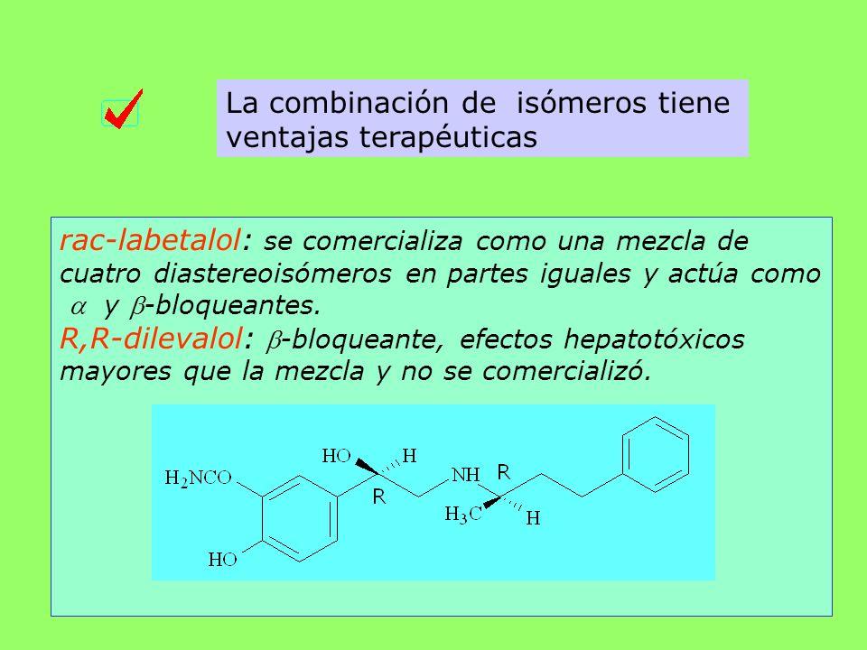 La combinación de isómeros tiene ventajas terapéuticas rac-labetalol: se comercializa como una mezcla de cuatro diastereoisómeros en partes iguales y