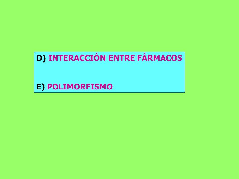 D) INTERACCIÓN ENTRE FÁRMACOS E) POLIMORFISMO