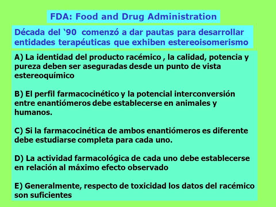 FDA: Food and Drug Administration Década del 90 comenzó a dar pautas para desarrollar entidades terapéuticas que exhiben estereoisomerismo A) La ident