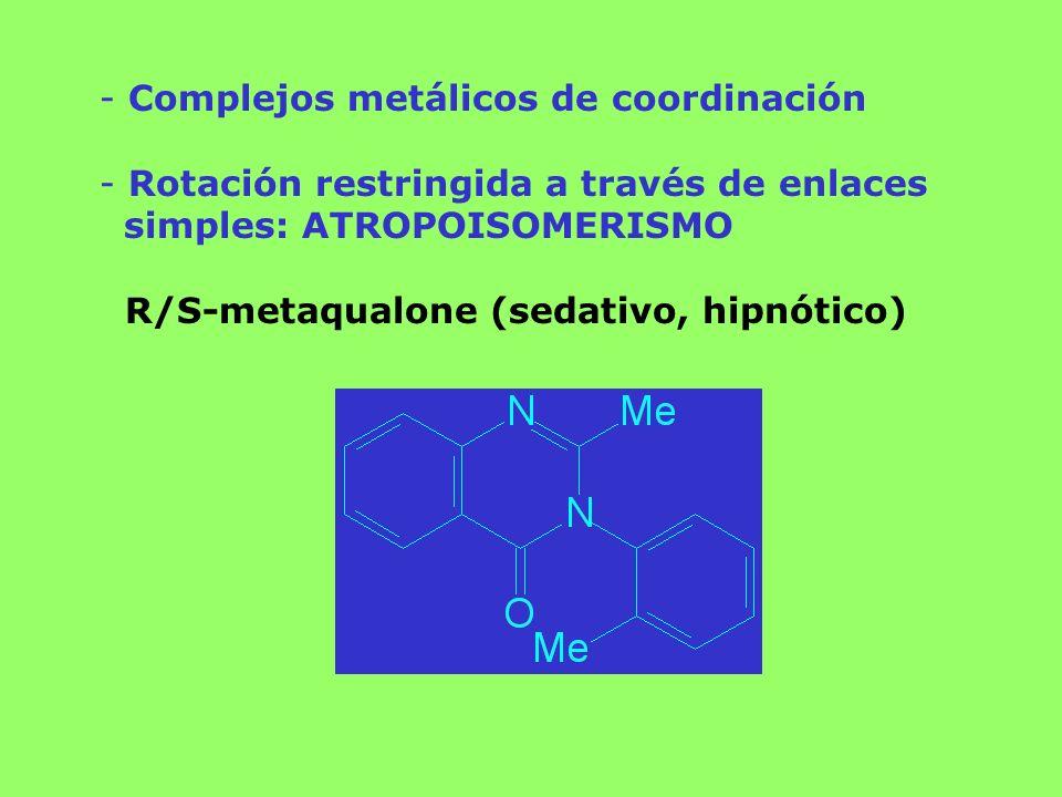 - Complejos metálicos de coordinación - Rotación restringida a través de enlaces simples: ATROPOISOMERISMO R/S-metaqualone (sedativo, hipnótico)