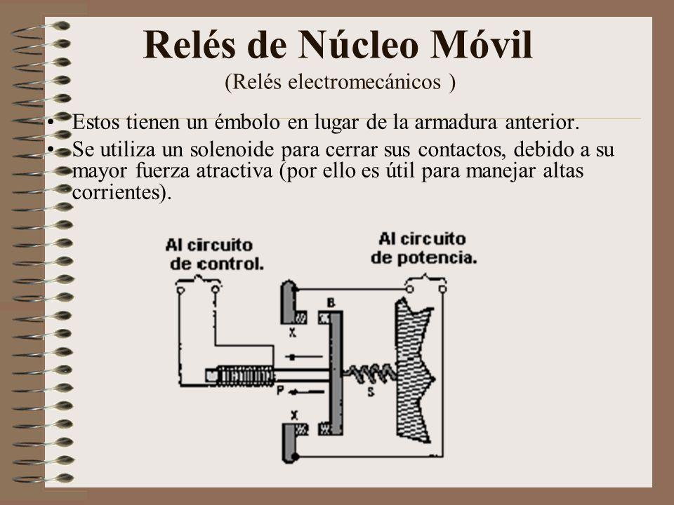Relé tipo Reed o de Lengüeta (Relés electromecánicos ) Formados por una ampolla de vidrio, en cuyo interior están situados los contactos (pueden ser múltiples) montados sobre delgadas láminas metálicas.