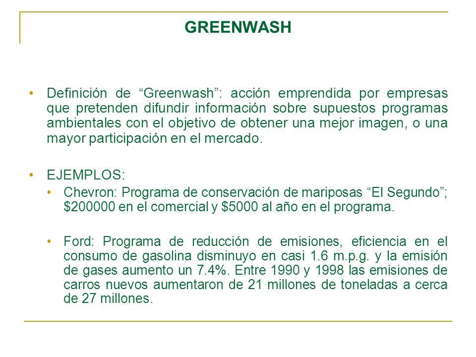 GREENWASH Definición de Greenwash: acción emprendida por empresas que pretenden difundir información sobre supuestos programas ambientales con el obje