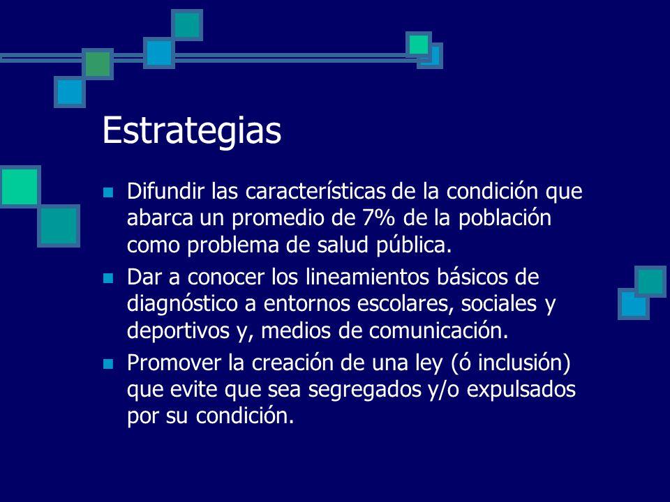 Estrategias Difundir las características de la condición que abarca un promedio de 7% de la población como problema de salud pública. Dar a conocer lo