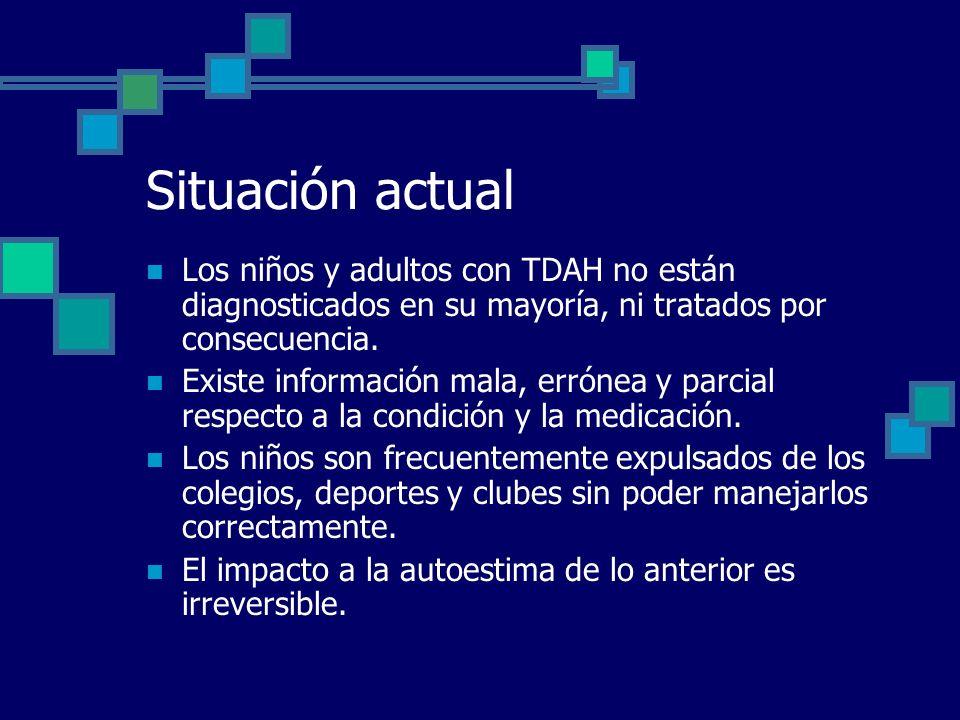 Situación actual Los niños y adultos con TDAH no están diagnosticados en su mayoría, ni tratados por consecuencia. Existe información mala, errónea y