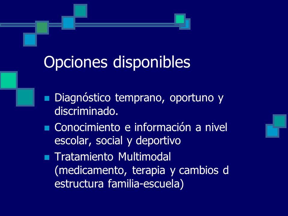 Opciones disponibles Diagnóstico temprano, oportuno y discriminado. Conocimiento e información a nivel escolar, social y deportivo Tratamiento Multimo