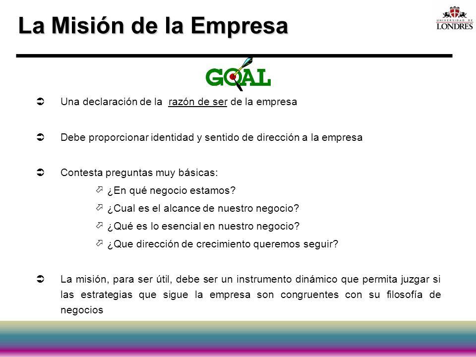 La Misión de la Empresa Una declaración de la razón de ser de la empresa Debe proporcionar identidad y sentido de dirección a la empresa Contesta preg