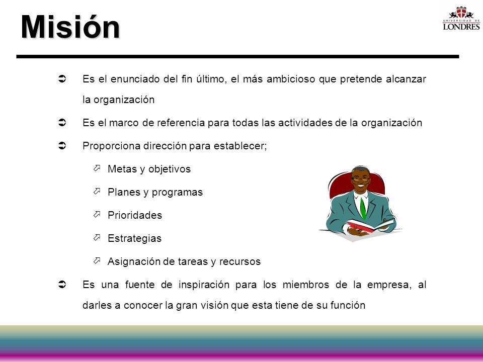 Misión Es el enunciado del fin último, el más ambicioso que pretende alcanzar la organización Es el marco de referencia para todas las actividades de