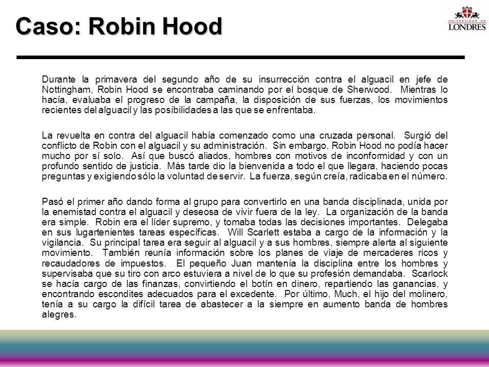 Caso: Robin Hood Durante la primavera del segundo año de su insurrección contra el alguacil en jefe de Nottingham, Robin Hood se encontraba caminando