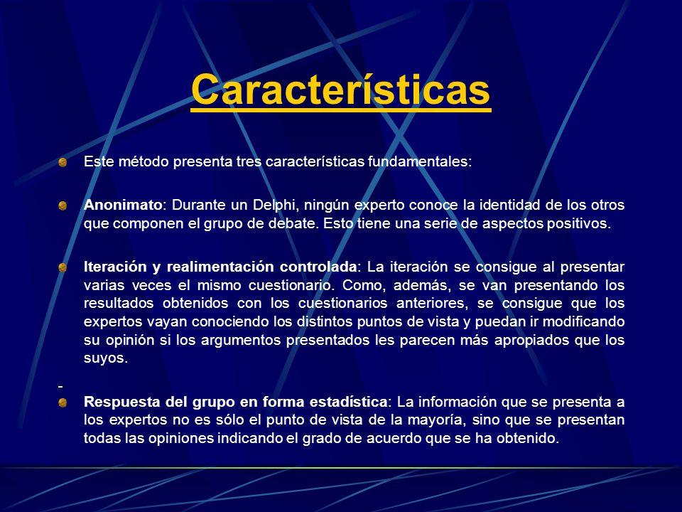 Características Este método presenta tres características fundamentales: Anonimato: Durante un Delphi, ningún experto conoce la identidad de los otros