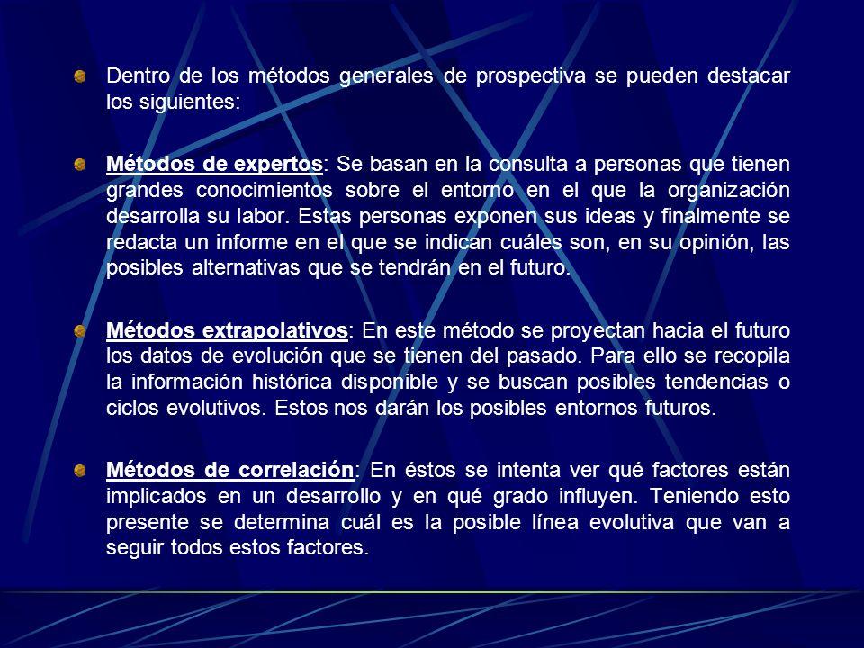 Dentro de los métodos generales de prospectiva se pueden destacar los siguientes: Métodos de expertos: Se basan en la consulta a personas que tienen g