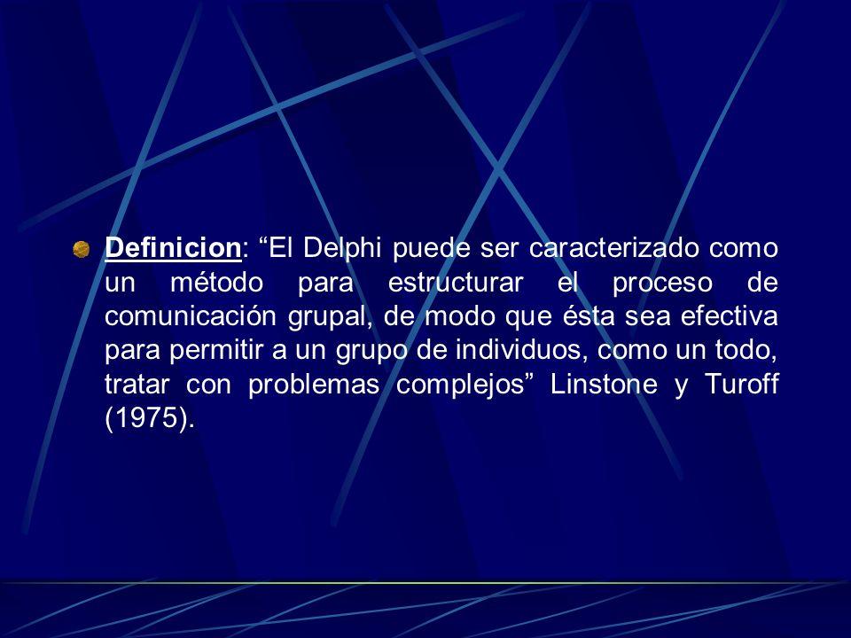 Definicion: El Delphi puede ser caracterizado como un método para estructurar el proceso de comunicación grupal, de modo que ésta sea efectiva para pe