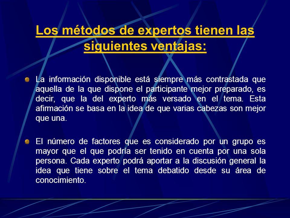 Los métodos de expertos tienen las siguientes ventajas: La información disponible está siempre más contrastada que aquella de la que dispone el partic