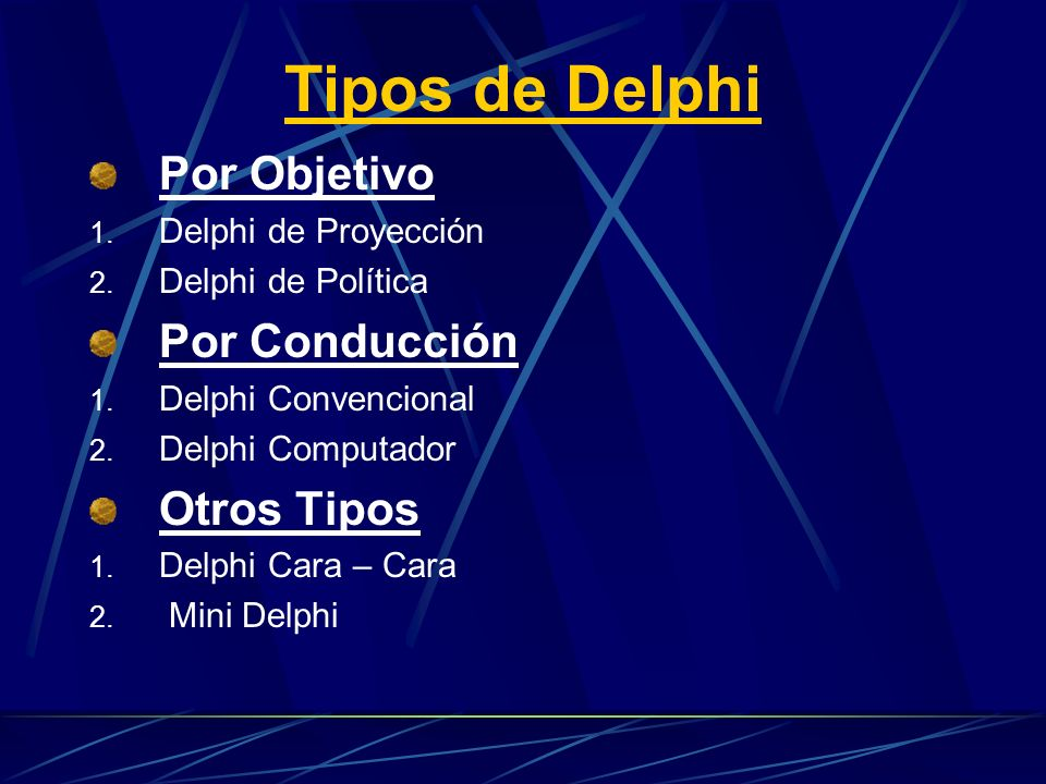 Tipos de Delphi Por Objetivo 1. Delphi de Proyección 2. Delphi de Política Por Conducción 1. Delphi Convencional 2. Delphi Computador Otros Tipos 1. D