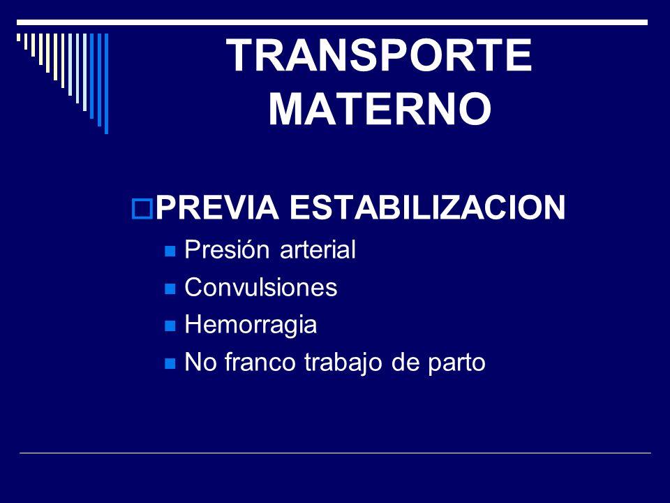 TRANSPORTE MATERNO PREVIA ESTABILIZACION Presión arterial Convulsiones Hemorragia No franco trabajo de parto