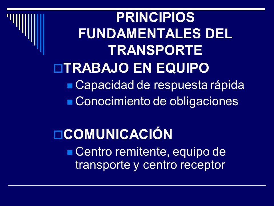 PRINCIPIOS FUNDAMENTALES DEL TRANSPORTE TRABAJO EN EQUIPO Capacidad de respuesta rápida Conocimiento de obligaciones COMUNICACIÓN Centro remitente, eq