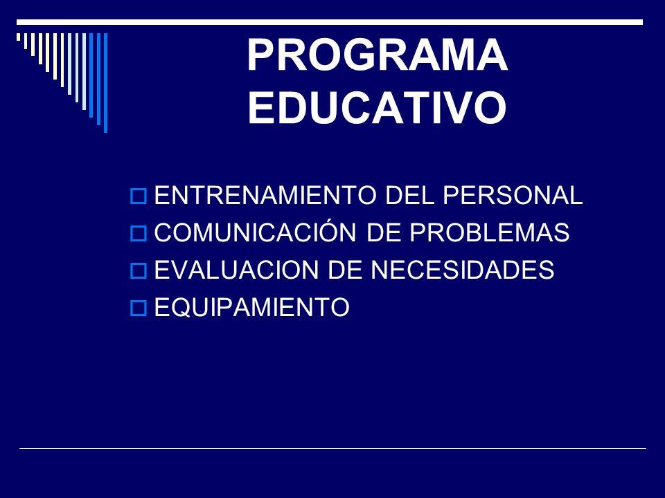 PROGRAMA EDUCATIVO ENTRENAMIENTO DEL PERSONAL COMUNICACIÓN DE PROBLEMAS EVALUACION DE NECESIDADES EQUIPAMIENTO