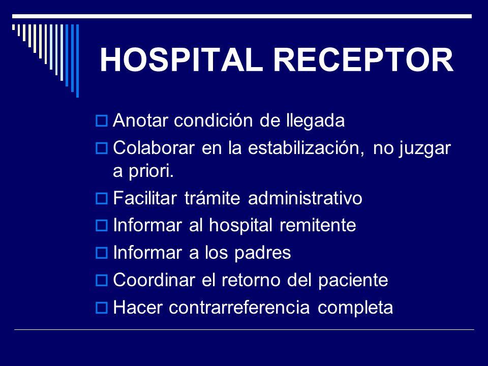HOSPITAL RECEPTOR Anotar condición de llegada Colaborar en la estabilización, no juzgar a priori. Facilitar trámite administrativo Informar al hospita