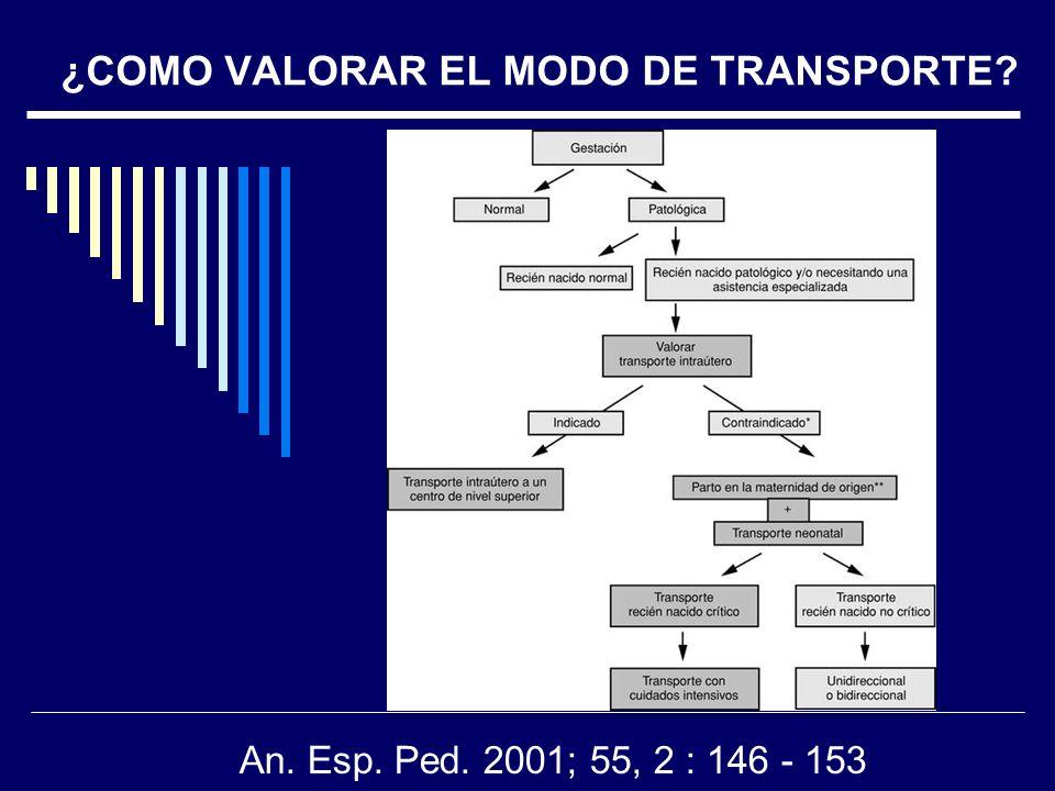¿COMO VALORAR EL MODO DE TRANSPORTE? An. Esp. Ped. 2001; 55, 2 : 146 - 153