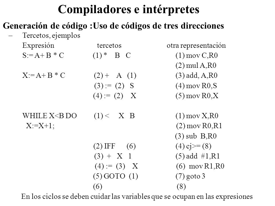 –Tercetos, ejemplos Expresión tercetos otra representación S:= A+ B * C (1) * B C (1) mov C,R0 (2) mul A,R0 X:= A+ B * C (2) + A (1) (3) add, A,R0 (3)