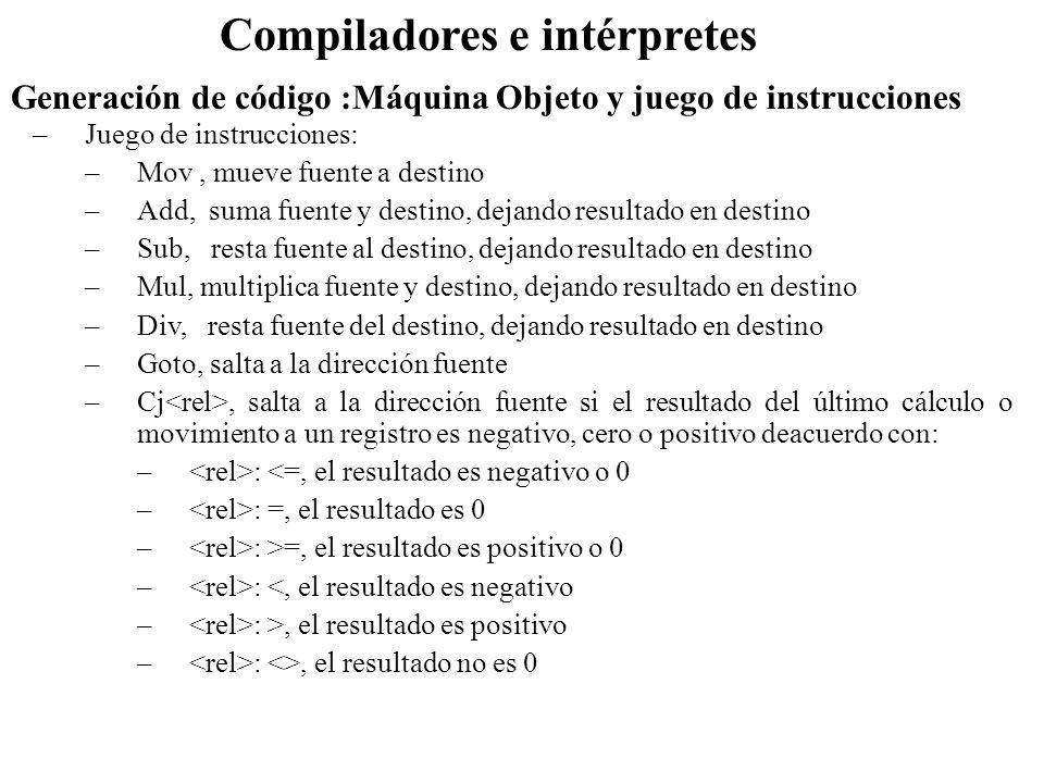 Generación de código :Máquina Objeto y juego de instrucciones Compiladores e intérpretes –Juego de instrucciones: –Mov, mueve fuente a destino –Add, s