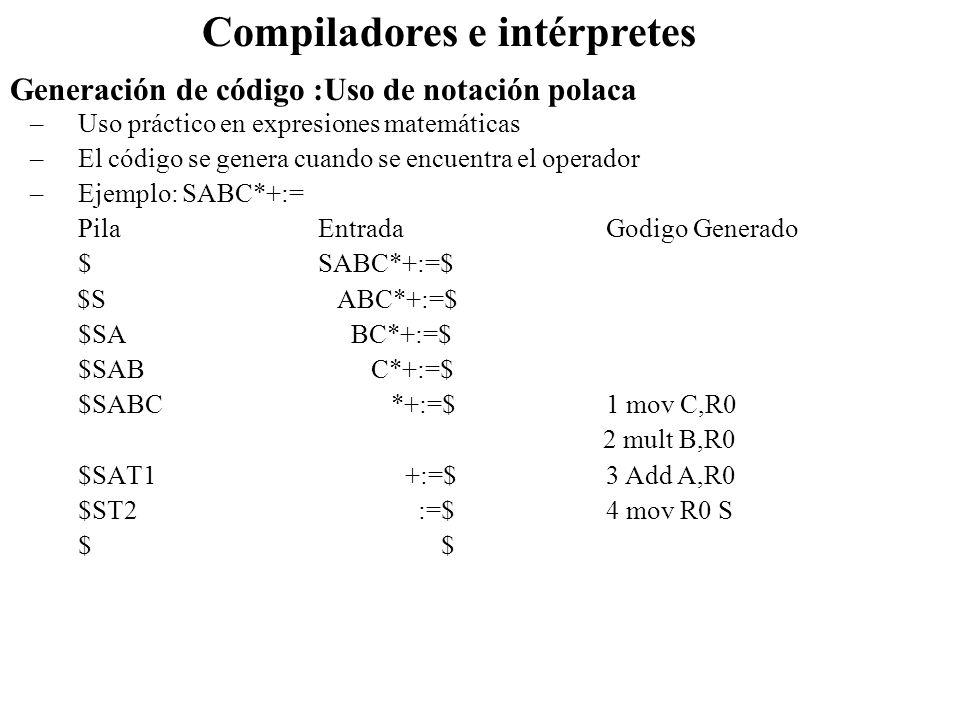 Generación de código :Uso de notación polaca Compiladores e intérpretes –Uso práctico en expresiones matemáticas –El código se genera cuando se encuen