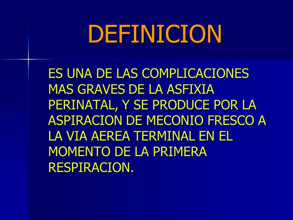 FISIOPATOLOGIA ELIMINACION PATOLOGICA DE MECONIO POR COMPROMISO FETAL (HIPOXIA,COMPRESION DE CORDON,ETC) ELIMINACION FISIOLOGICA DE MECONIO DE MECONIO (>42 SEM) MSAF ASPIRACION POSTPARTO GASPING I.U.