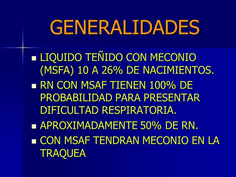 GENERALIDADES LIQUIDO TEÑIDO CON MECONIO (MSFA) 10 A 26% DE NACIMIENTOS.