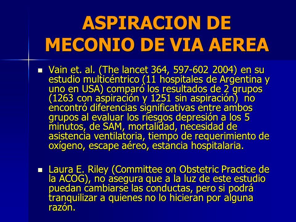 ASPIRACION DE MECONIO DE VIA AEREA ¿QUE OPINAN LOS INVESTIGADORES? ¿QUE OPINAN LOS INVESTIGADORES? Muchos opinan que no puede ser necesaria en aquello