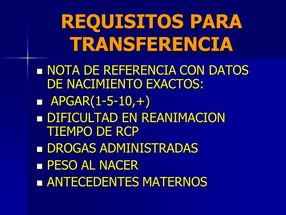 REQUISITOS PARA TRANSFERENCIA DE PREFERENCIA TRANSPORTE NEONATAL INTRAUTERO. DE PREFERENCIA TRANSPORTE NEONATAL INTRAUTERO. ACOMPAÑADO POR PROFESIONAL