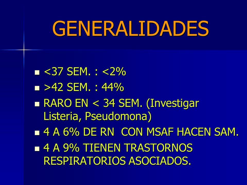 GENERALIDADES LIQUIDO TEÑIDO CON MECONIO (MSFA) 10 A 26% DE NACIMIENTOS. LIQUIDO TEÑIDO CON MECONIO (MSFA) 10 A 26% DE NACIMIENTOS. RN CON MSAF TIENEN