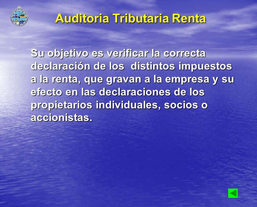 Su objetivo es verificar la correcta declaración de los distintos impuestos a la renta, que gravan a la empresa y su efecto en las declaraciones de lo