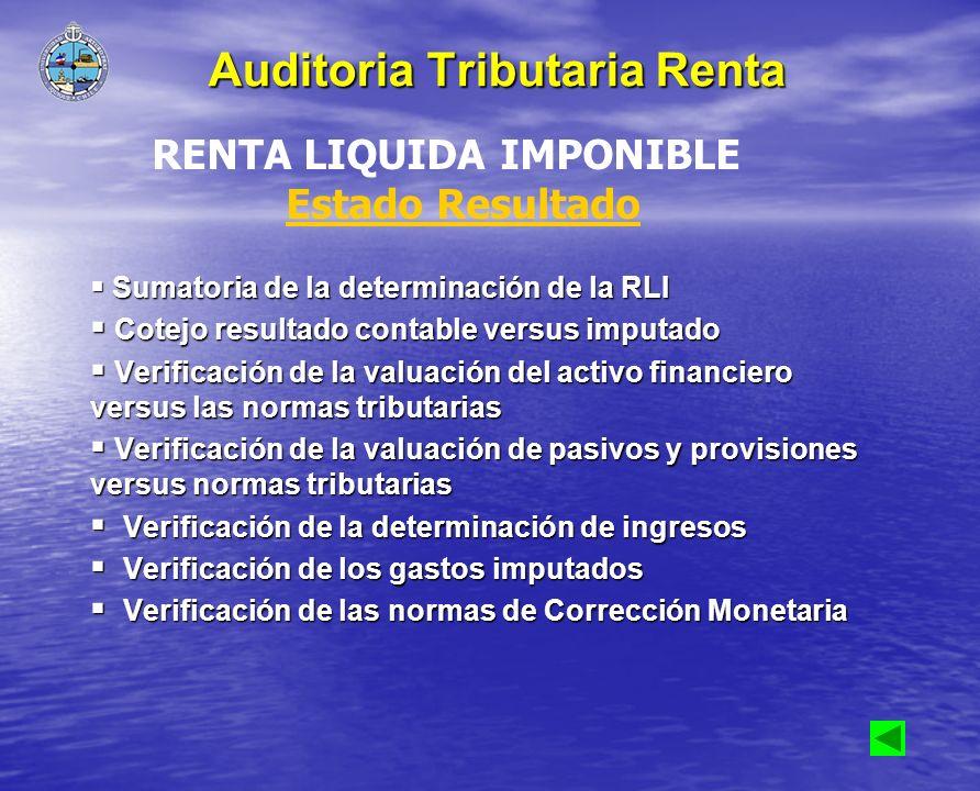 Sumatoria de la determinación de la RLI Sumatoria de la determinación de la RLI Cotejo resultado contable versus imputado Cotejo resultado contable ve