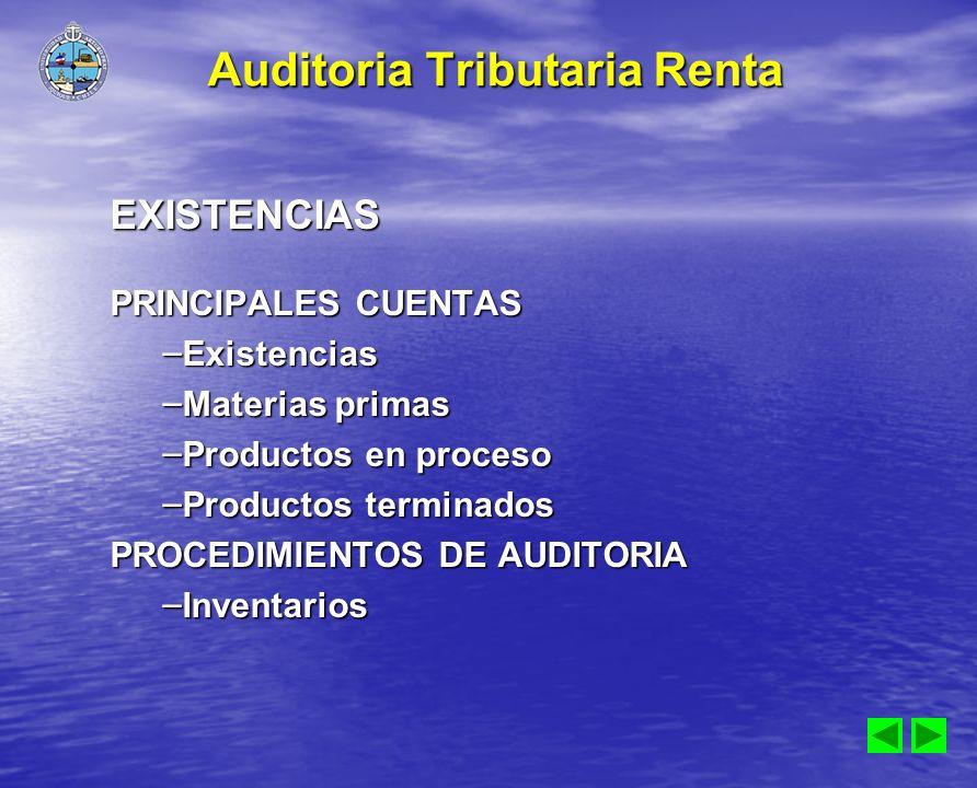 EXISTENCIAS PRINCIPALES CUENTAS – Existencias – Materias primas – Productos en proceso – Productos terminados PROCEDIMIENTOS DE AUDITORIA – Inventario