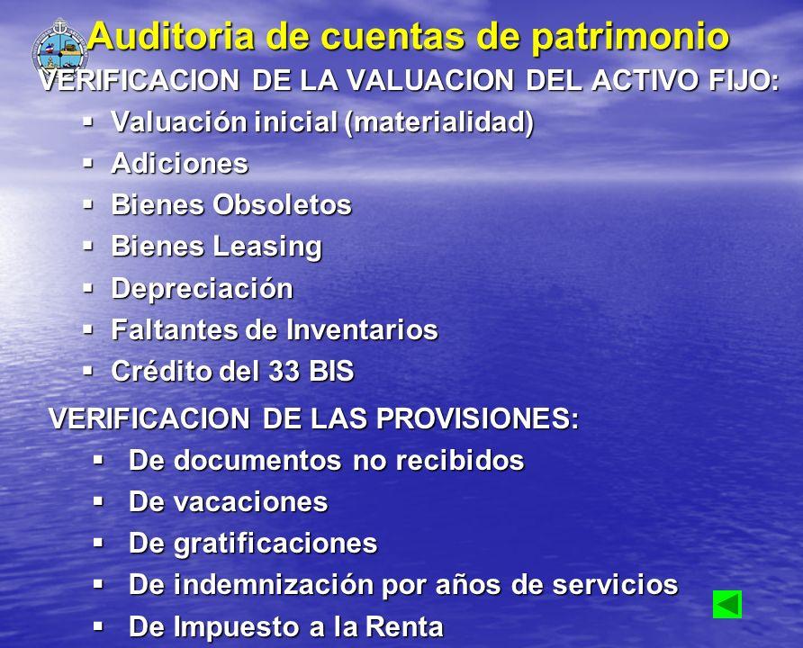 Auditoria de cuentas de patrimonio VERIFICACION DE LA VALUACION DEL ACTIVO FIJO: Valuación inicial (materialidad) Valuación inicial (materialidad) Adi