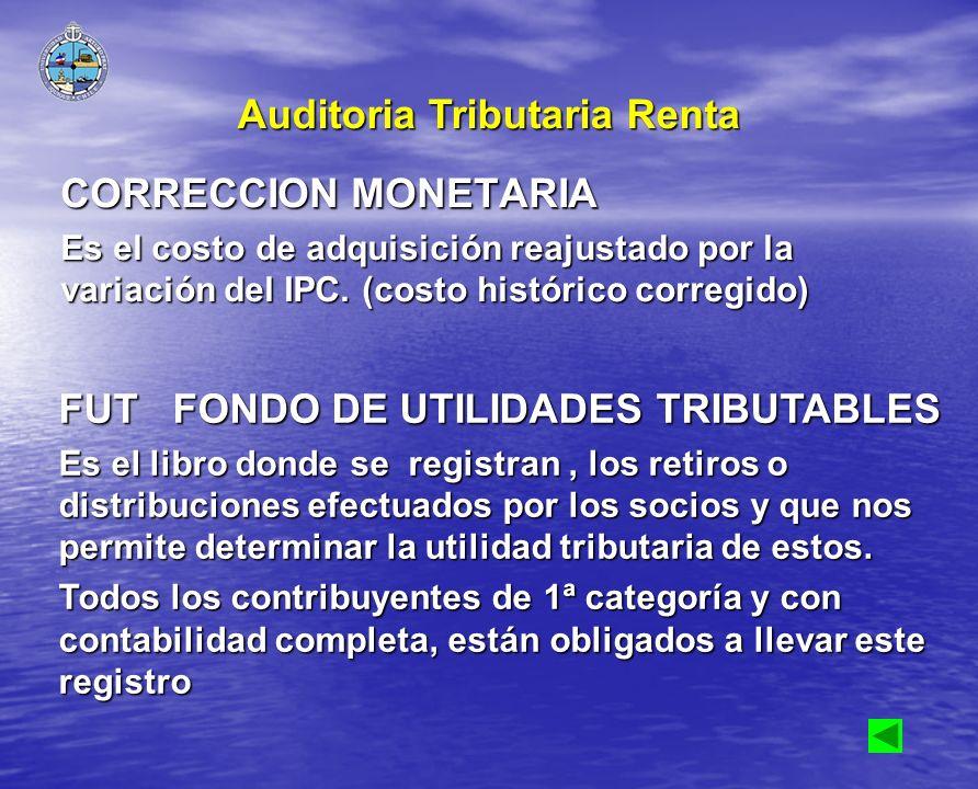 CORRECCION MONETARIA Es el costo de adquisición reajustado por la variación del IPC. (costo histórico corregido) FUT FONDO DE UTILIDADES TRIBUTABLES E