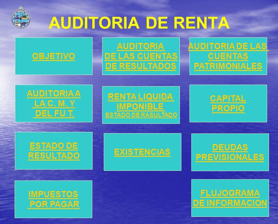 AUDITORIA DE RENTA OBJETIVO AUDITORIA A LA C. M. Y DEL FU T. AUDITORIA DE LAS CUENTAS DE RESULTADOS AUDITORIA DE LAS CUENTAS PATRIMONIALES CAPITAL PRO