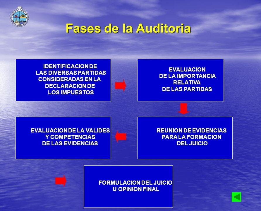 Fases de la Auditoria IDENTIFICACION DE LAS DIVERSAS PARTIDAS CONSIDERADAS EN LA DECLARACION DE LOS IMPUESTOS EVALUACION DE LA IMPORTANCIA RELATIVA DE