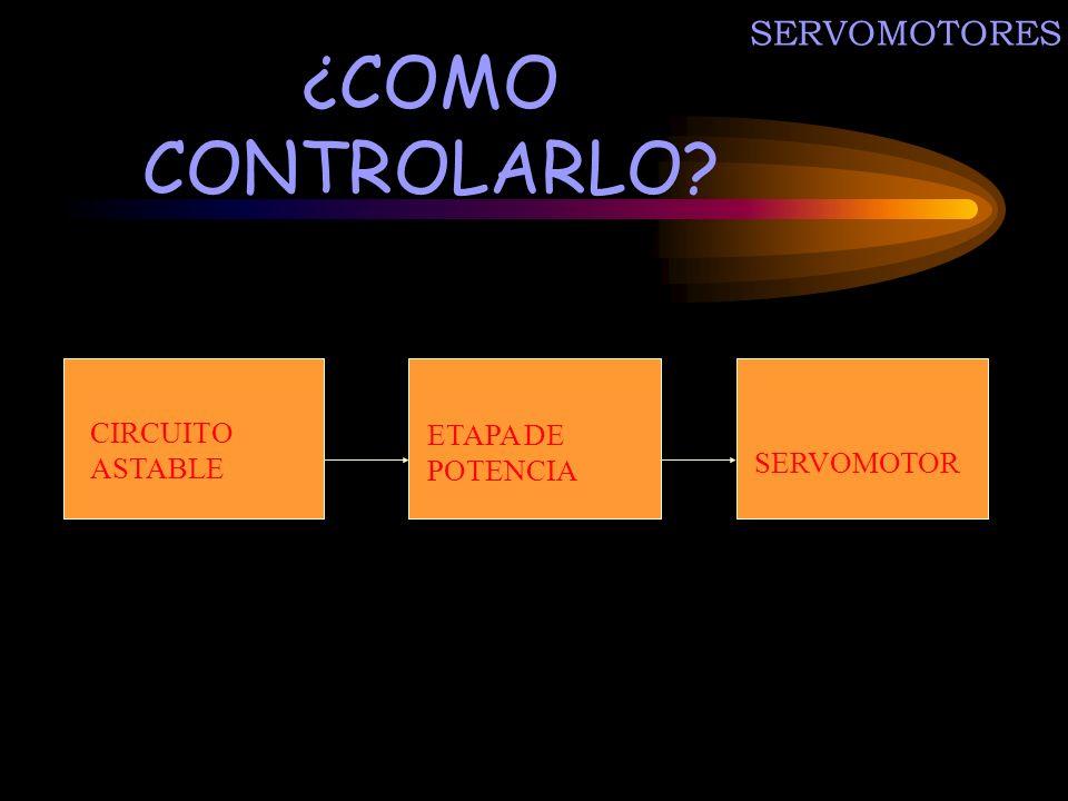 SERVOMOTORES ¿COMO CONTROLARLO? CIRCUITO ASTABLE ETAPA DE POTENCIA SERVOMOTOR