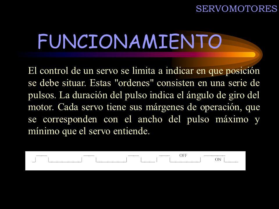 FUNCIONAMIENTO El control de un servo se limita a indicar en que posición se debe situar. Estas