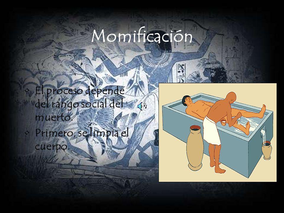 Momificación El proceso depende del rango social del muerto. Primero, se limpia el cuerpo.