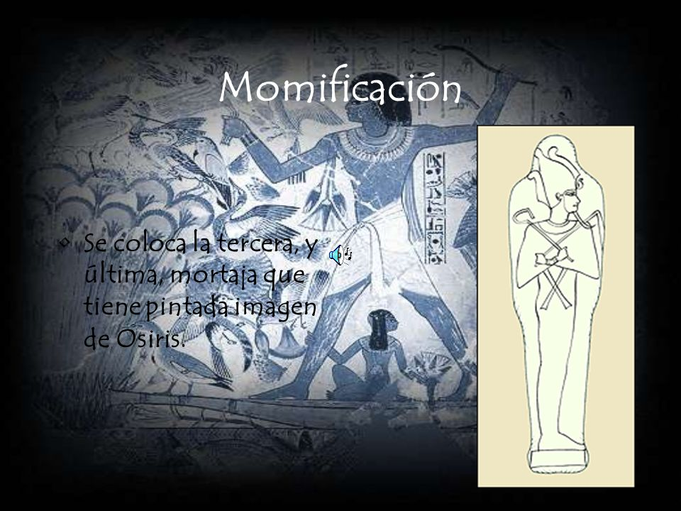 Momificación Se coloca la tercera, y última, mortaja que tiene pintada imagen de Osiris.